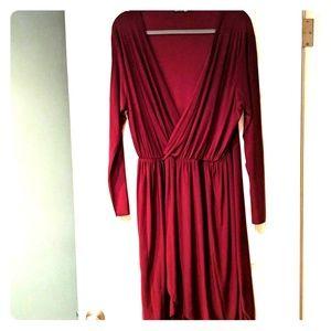 Boohoo plus US20 UK24 burgundy red dress